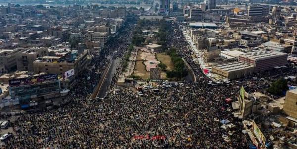 تجمع دهها هزار نفری هواداران جریان صدر در مرکز بغداد